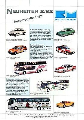 Ehrlich Rietze Automodelle Neuheiten 1992 2/92 Prospekt Modellautos Brochure Model Cars