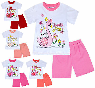 Short Sleeves jolly rascals Girls T-Shirt 100/% Cotton with Crew Neck Shorts Set Cartoon