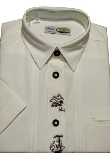 Herren Kurzarm Trachtenhemd in alle Grössen Herrenhemd  in Creme Thkcr