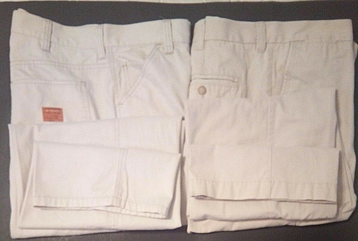 2 Mens Pants 36 X 32 OLD NAVY Beige Cream & STRUCTURE 089 Off White Ivory Cotton