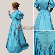 Custom Made Southern Belle Traditional Blue Civil War Dress Cosplay Costume