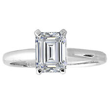 Emerald Cut Solitaire Engagement Proposal Ring 1 Carat Wedding 14k White Gold