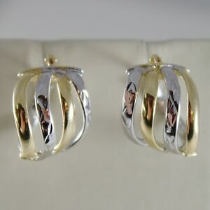 18K-YELLOW-WHITE-GOLD-EARRINGS-ALTERNATE-WORKED-HOOPS-HOOP-13-MM-MADE-IN-ITALY