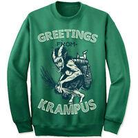 Krampus Christmas Sweatshirt. Greetings Sweater. Ugly Sweatshirt. Cat.