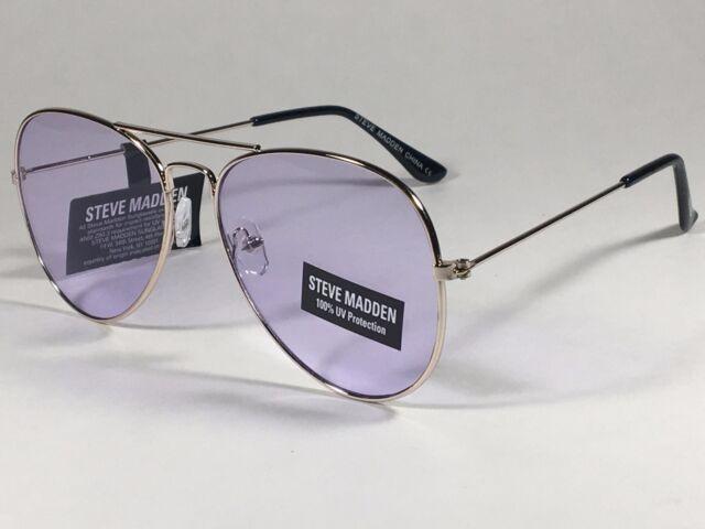 8343082758e New Steve Madden Aviator Sunglasses Pale Gold Metal Light Purple Lens  SM482101