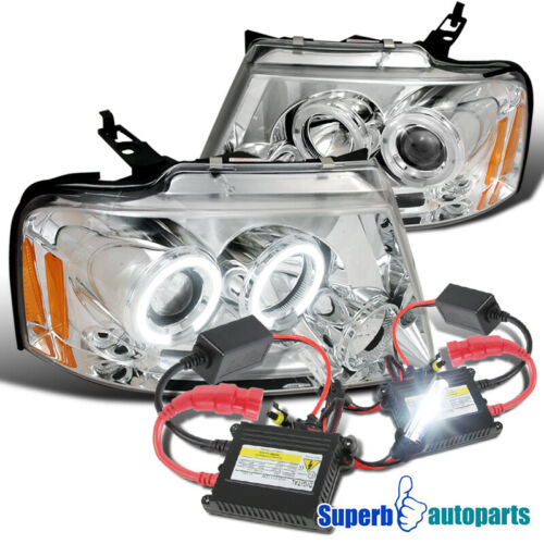 For 2004-2008 Ford F150 LED Halo Projector Headlights+H1 Slim HID