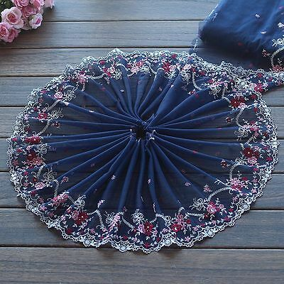 2 Yards Lace Trim Blue Tulle Pink Floral Embroidered Tulle Lace 8.66 Inches Wide