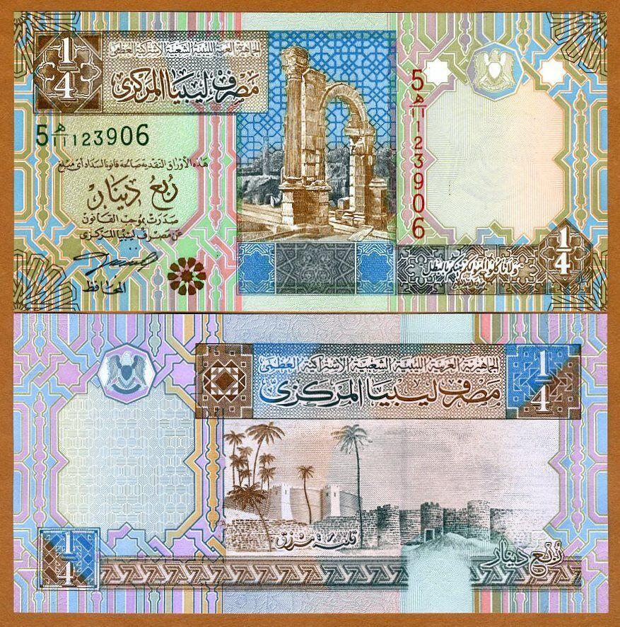 LIBYA 1//4 DINAR 2002 P 62 UNC