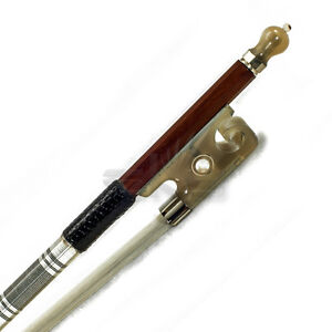 New-Hi-Quality-44-Violin-Bow-Brazilwood-Yak-Horn-Frog-Abalone-Silver-Wrap-White