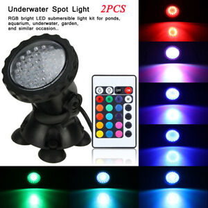 2PCS-72-Leds-Fish-Tank-Lights-RGB-LED-Garden-Swimming-Pool-Underwater-Spot-Light