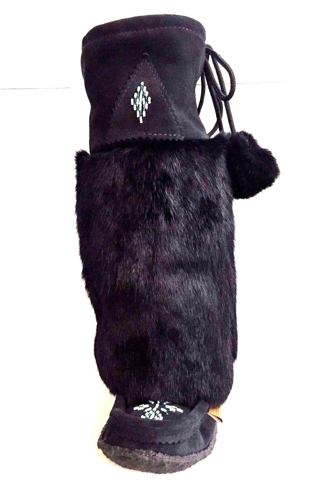 SALE. 50% OFF!!! Women's Tall Black Suede & Rabbit Fur Mukluks Multiple Sizes