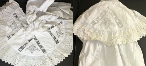 Antique 1870s- 1900 VICTORIAN Girl's WHITE Lace Tr