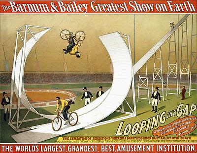 Barnum Bailey Circus Bicycle Bike loop the loop the Gap   Poster Print