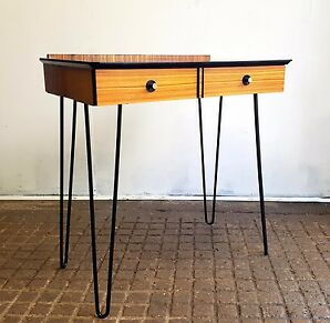 Mid Century Walnut and Black Glass  Writing Table / Console Table Hairpin Legs