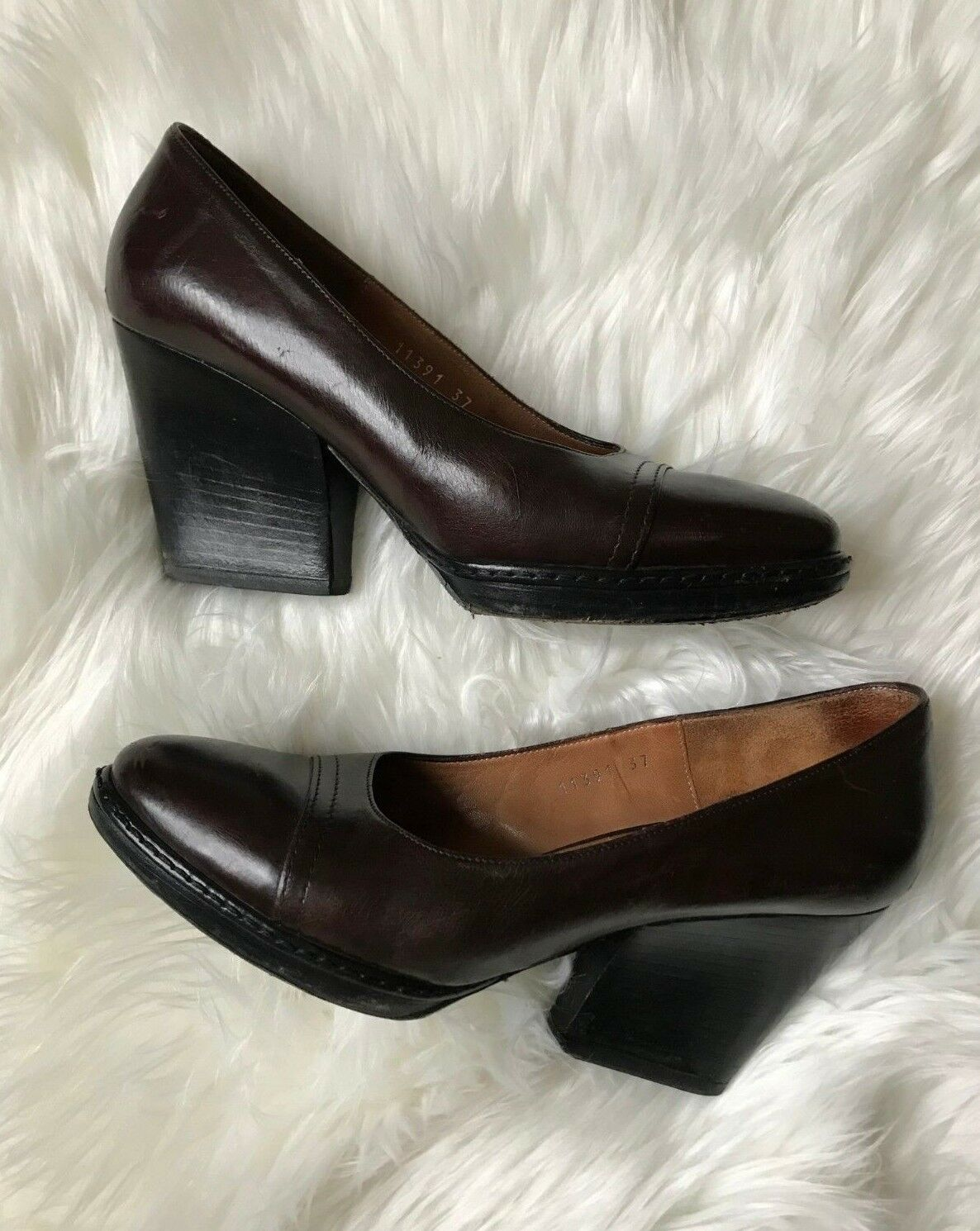 Dries Van Noten Size 37 Dark Red Brown Two Tone Leather Slanted Block Heels