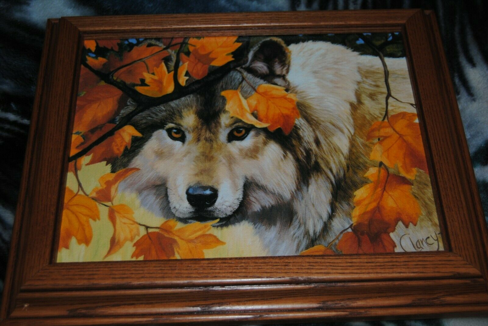 Vintage CLANCY Print Canvas Painting WOLF Wood Proffesionally Framed on eBay thumbnail