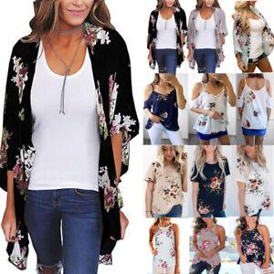 Womens-Boho-Floral-Chiffon-Top-Kimono-Cardigan-Blouse-Beach-Cover-Up-Vest-Shirts