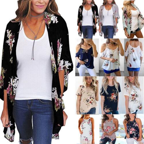 Women/'s Floral Chiffon Shawl Kimono Cardigan Top Beachwear Cover Up Blouse Vest
