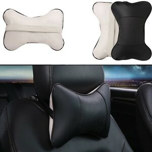 2Pcs-Black-amp-Gray-Car-Seat-Headrest-Neck-Pillow-Soft-Decompress-Breathable-Leather