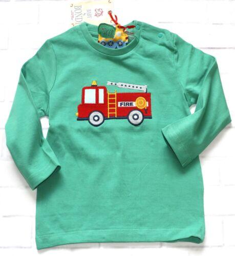 74 80 NeU Bondi Shirt Baby Jungen Single Jersey Langarmshirt Feuerwehr Grün Gr