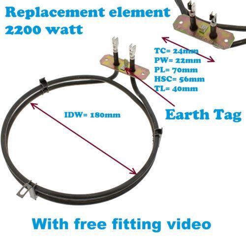 Smeg CLDFRC-10 CLDFRC-9 CLPI460N CN61MF-5 CO61CMA Fan Oven Element 2200w