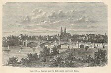 A1870 Basilea vista dal ponte - Xilografia - Stampa Antica del 1895 - Engraving