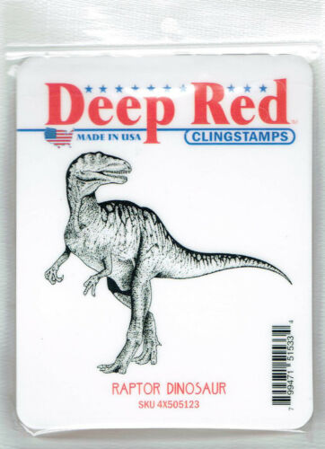Deep Red Stamps Raptor Dinosaur Rubber Cling Stamp
