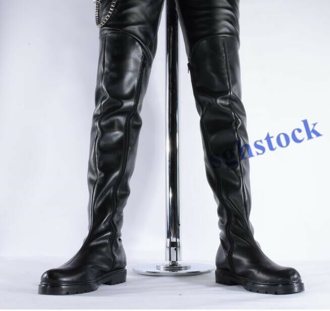 Mens PU Leather Long Dancer Military Riding Over Knee High Combat Boots shoes