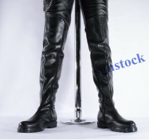 great deals search for latest largest selection of Details about Mens PU Leather Long Dancer Military Riding Over Knee High  Combat Boots Shoes