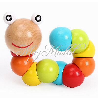DIY Baby Kids Twist Caterpillars Wooden Toy Infant Creative Educational Gift Q