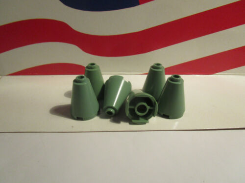 6 2x2x2 PIECE CONES FOR THE ROOF PART #3942c Lego HARRY POTTER SAND GREEN