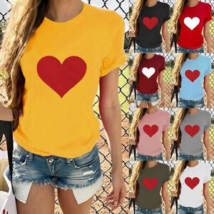 Fashion-Women-Ladies-Short-Sleeve-T-Shirt-Tops-Blouse-Heart-Printed-Casual-Tee