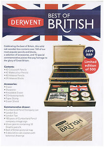 Details About Derwent Best Of British Wooden Box Coloursoft Watercolour Inktense
