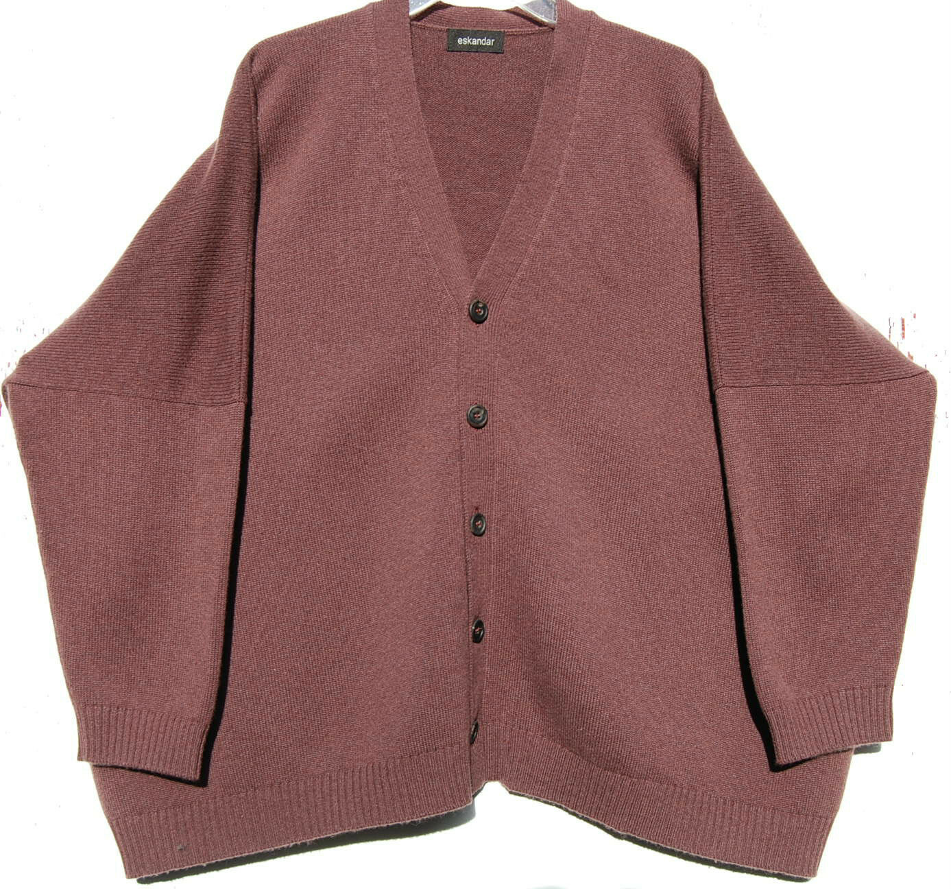 Eskandar PLUM Medium to Heavy Weight Cashmere V-Neck Boxy Cardigan O S  2190