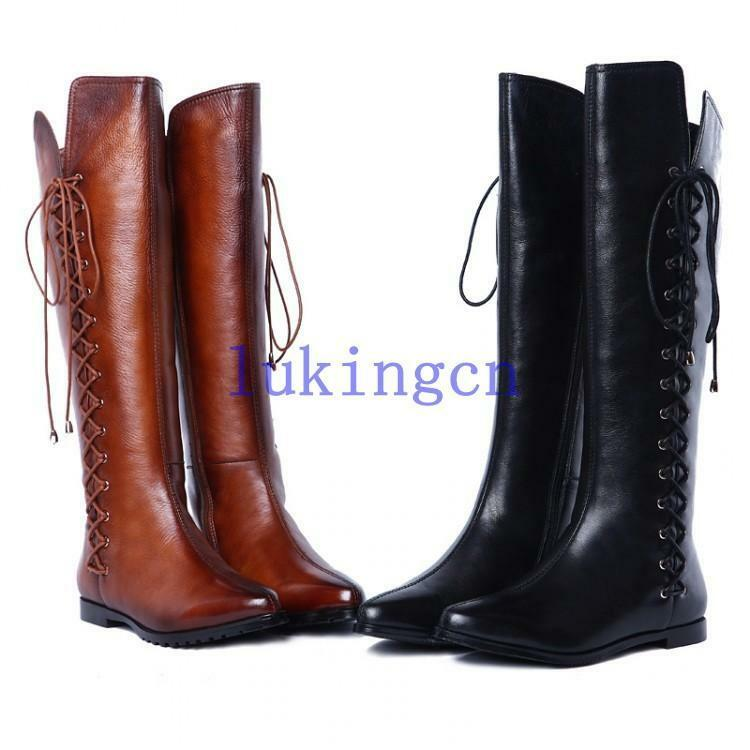 Womens Genuine Leather Knee High Combat Boots Lace Up Flat Heels Riding Boots Sz