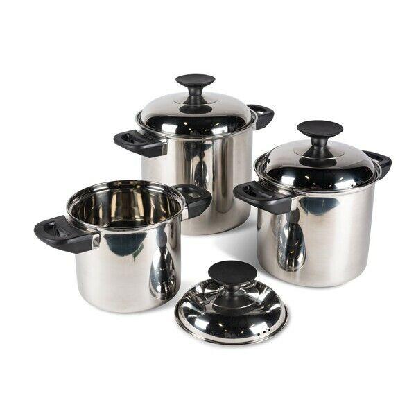 3 Kochtopf Platzsparend Kochset Set Töpfe Pfannen in Edelstahl Verschachtelnd  | Haben Wir Lob Von Kunden Gewonnen
