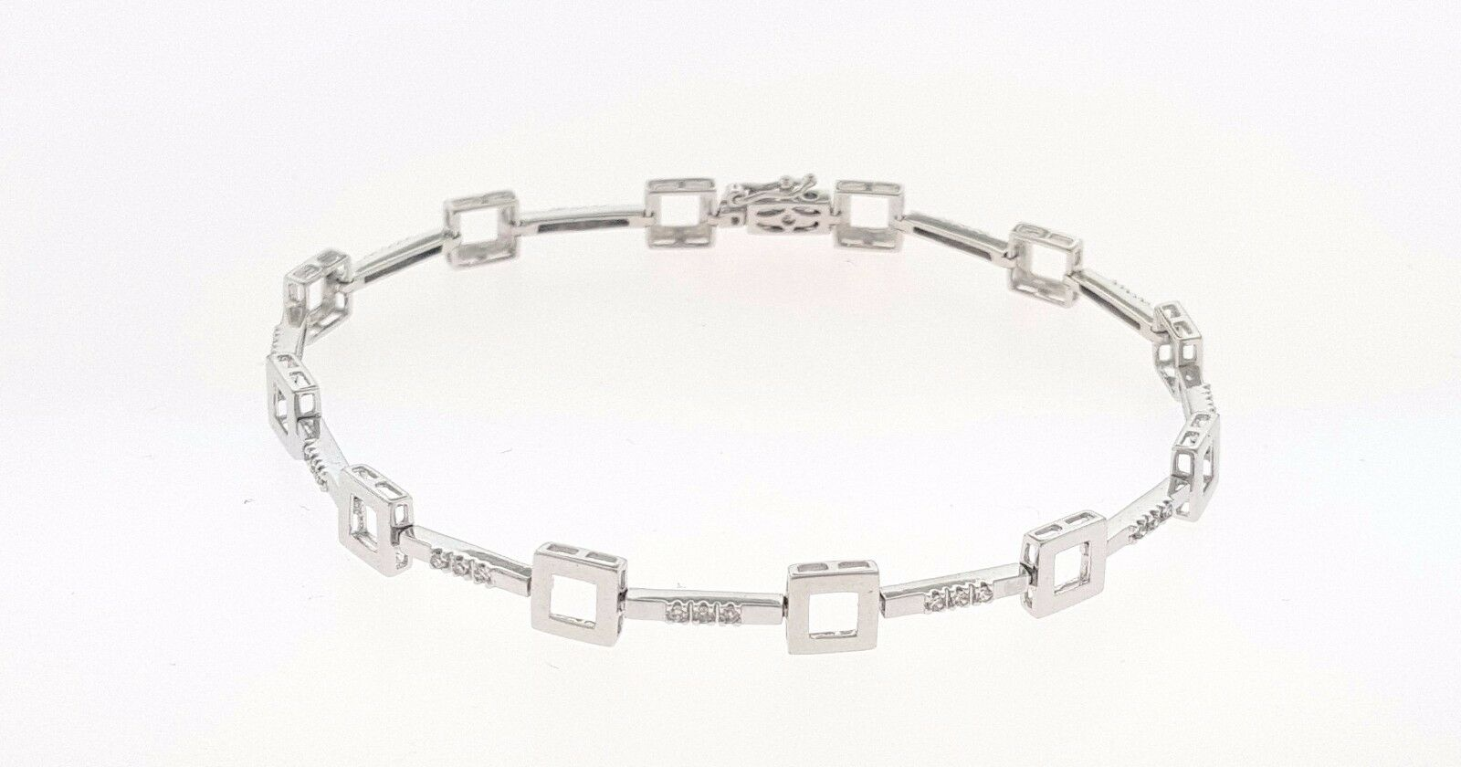 36 Diamond Square Bracelet 14K White gold 7