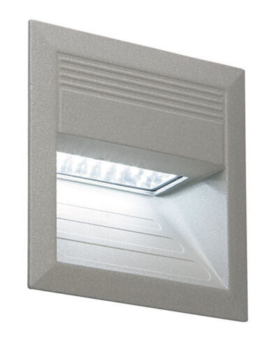 LED Low Level Recessed Wall Light In Silver 1W LED Cool White Saxby Design M002W