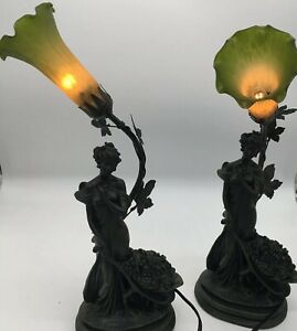 Art-Nouveau-Style-Faux-Bronze-Sculpted-Lady-Lamp-Flower-Shade-Table-Light-Pair