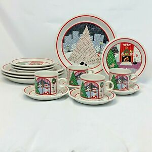 16-PIECE-DISH-SET-NORITAKE-EPOCH-TWAS-THE-NIGHT-BEFORE-CHRISTMAS-PLATE-CUP-SALAD