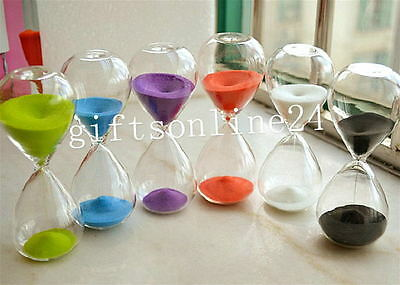 Colorful Sand Clock Sandglass Hourglass Timer 15min Decor Birthday Xmas Gift