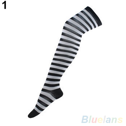 STRIKING HOT STRIPED THIGH HIGH LONG HOSIERY OVER THE KNEE DRESS SOCKS STOCKINGS