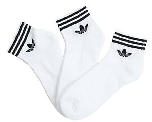 Adidas-Men-Trefoil-Ankle-3-Pairs-Socks-White-Sports-Casual-Fashion-Sock-EE1152