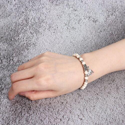 Alloy Unique Tibet Silver Elephant Pendant White Turquoise Beads 6mm Bracelet