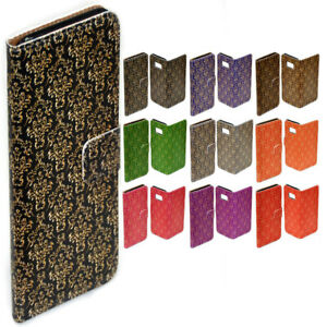 For-Nokia-Series-Gold-Damask-Theme-Print-Wallet-Mobile-Phone-Case-Cover