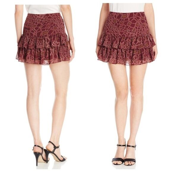 b707e97cb654 Sam Edelman Tiered Chiffon Ruffle Mini Skirt Burgundy Red Animal Print L 10  for sale online | eBay