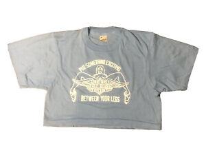 Vintage Deadstock Screen Stars Cropped T-shirt Harley Davidson Single Stitch Large