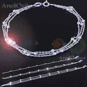 Neu Sterling Silber 925 Armband mit Kugeln-Einzell Doppel Dreibett Geschenk