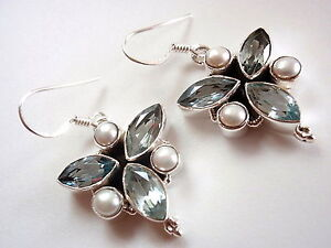 Faceted-Blue-Topaz-Marquise-Pearl-6-Gemstone-925-Sterling-Silver-Dangle-Earrings