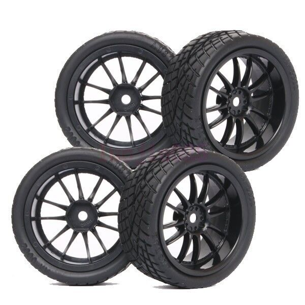 4PCS RC 1:10 On-Road Car Foam Rubber Tyre Tire Wheel Rim black 6031-8001